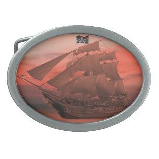SHIP AHOY OVAL BELT BUCKLES