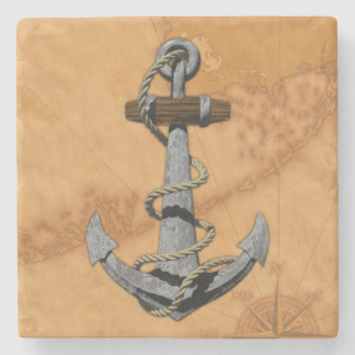 Ship Anchor And Nautical Map Stone Coaster