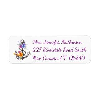 Ship Anchor Floral Purple Nautical Return Address