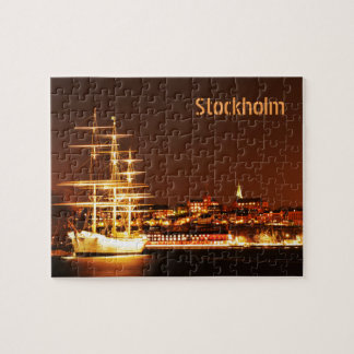 Ship at night in Stockholm, Sweden Jigsaw Puzzle
