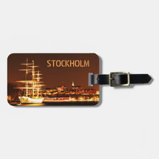 Ship at night in Stockholm, Sweden Luggage Tag