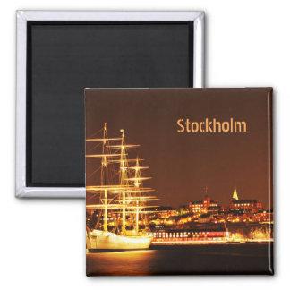 Ship at night in Stockholm, Sweden Magnet