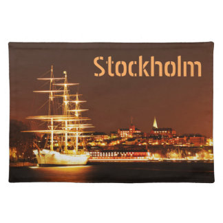 Ship at night in Stockholm, Sweden Placemat