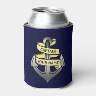 Ship Boat Captain Anchor Nautical Sea Custom Name Can Cooler