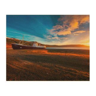 Ship Boat Sunset Wall Art