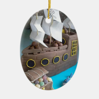 Ship cake 1 ceramic ornament