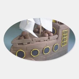Ship cake 1 oval sticker