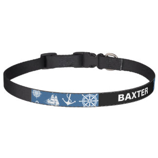Ship Captain Nautical Blue and White Sailor Dog Collars