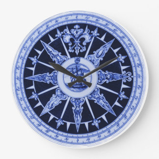 Ship Compass Wind Directions Delft-Blue-Look Large Clock
