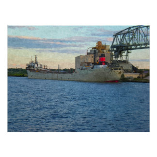 Ship Docked in Harbor-Painting Print
