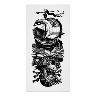 Ship Fish Sword Poster