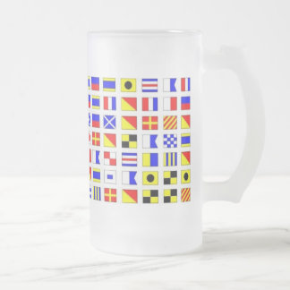 SHIP FLAGS 16 OZ FROSTED GLASS BEER MUG