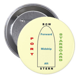 Ship Geography Yellow 3 Inch Round Button