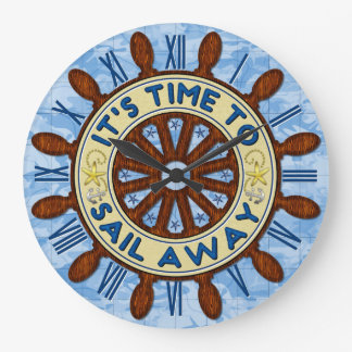 Ship Helm Wood Wheel Nautical Blue Map Sail Away Clocks