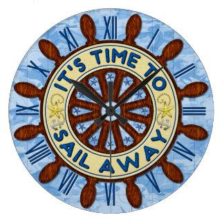 Ship Helm Wood Wheel Nautical Blue Map Sail Away Large Clock