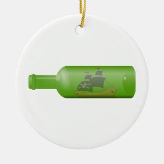 Ship in a bottle ceramic ornament