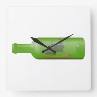 Ship in a bottle square wall clock