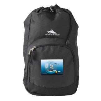 Ship in a light bulb backpack