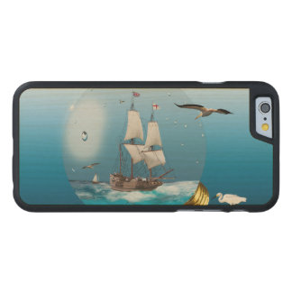 Ship in a light bulb carved maple iPhone 6 case