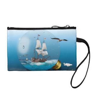 Ship in a light bulb coin purse