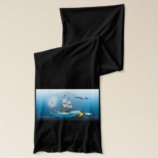 Ship in a light bulb scarf