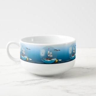 Ship in a light bulb soup mug