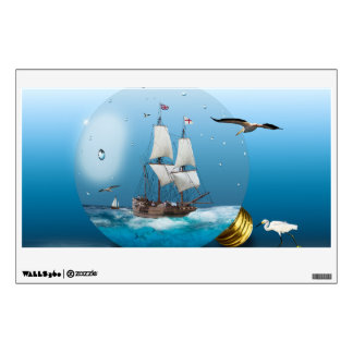 Ship in a light bulb wall decal