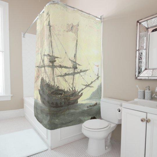 Ship In Bay Shower Curtain