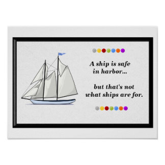 Ship in harbor poster