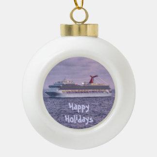 Ship in Purple Ceramic Ball Christmas Ornament