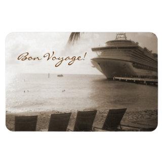 Ship in Sepia Bon Voyage Large Rectangular Photo Magnet