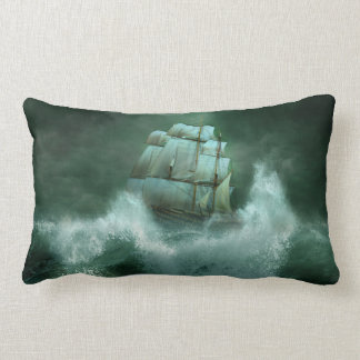 Ship in Storm Lumbar Pillow