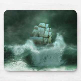 Ship in Storm Mouse Pad