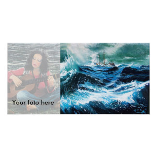 Ship In the Sea in Storm Photo Cards