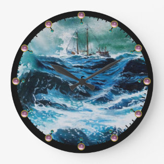 Ship In the Sea in Storm Wallclocks