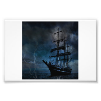 Ship in the Storm Photographic Print