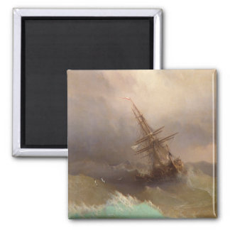 Ship in the Stormy Sea Square Magnet