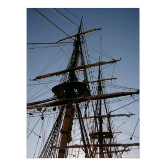 Ship Masts at Dusk Poster