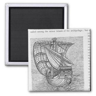 Ship of Columbus' Time' Square Magnet