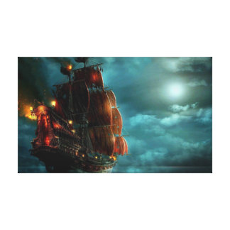 Ship on Stormy Sea Canvas Print