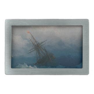 Ship on Stormy Seas, Ivan Aivazovsky Belt Buckles