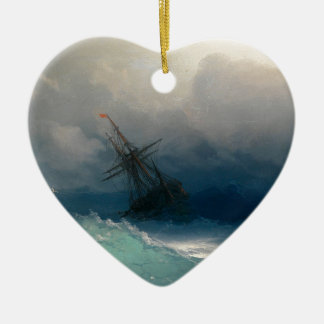 Ship on Stormy Seas, Ivan Aivazovsky - Ceramic Heart Ornament