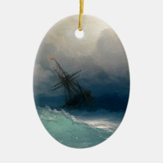 Ship on Stormy Seas, Ivan Aivazovsky Ceramic Oval Ornament