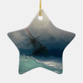 Ship on Stormy Seas, Ivan Aivazovsky Ceramic Star Ornament