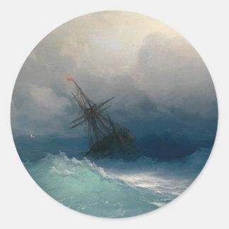 Ship on Stormy Seas, Ivan Aivazovsky Classic Round Sticker
