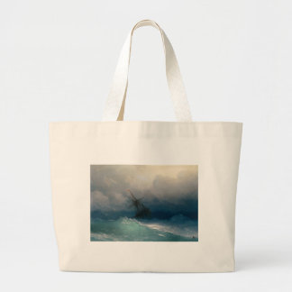 Ship on Stormy Seas, Ivan Aivazovsky - Large Tote Bag