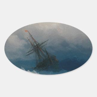 Ship on Stormy Seas, Ivan Aivazovsky Oval Sticker