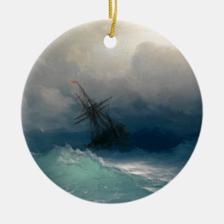 Ship on Stormy Seas, Ivan Aivazovsky Round Ceramic Ornament