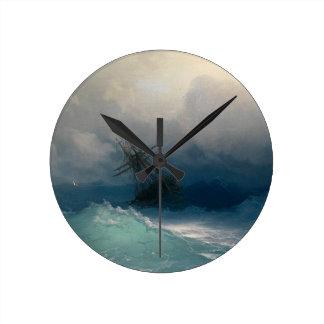 Ship on Stormy Seas, Ivan Aivazovsky Round Clock