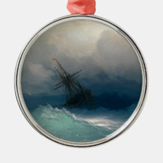 Ship on Stormy Seas, Ivan Aivazovsky - Silver-Colored Round Ornament